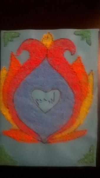 Рисование цветной солью — тема о пророке Ибрахиме
